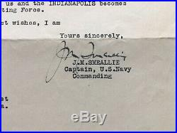 1933 USS Indianapolis Honolulu Signed Letter J. M. Smeallie US Navy Lucy Taggart