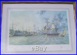 1976 SIgned Ltd Ed John Stobart Print Ship, Fairfax Leaving Alexandria #672/750