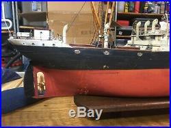 20th century fox antique ship model Exeter City 1937 on wood base 30 length