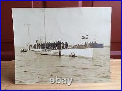 Antique 1917 WWI German Submarine Photograph Visit To NEWPORT RI
