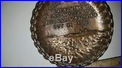 Antique Tray 1936 Navy Yard Boston Launching Of Uss Mugford & Uss Ralph Talbot