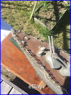 Antique WW2 uss Portland. Cruiser. Wooden model solid. 36 inch long