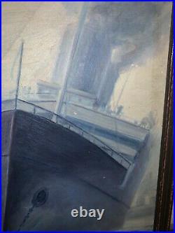 Charles H. Hubbell Original Painting-Naval-Ship-Signed-Original Frame-25.5x19.5
