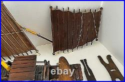 Model Wooden Junk Ship Asian 10 pcs Detailed Double Masted All Wood 17 x 15.5