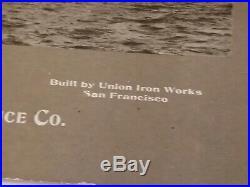 RARE c. 1901-1904 Lithograph USS Wisconsin BB-9 Battleship National Insurance Co