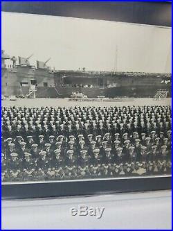 Rare 1946 Uss Shangri-la Cv-38 Officers & Crew Original Photo Wwii Carrier Ship