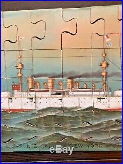 Rare Antique 1892 WHITE SQUADRON U. S. CRUISER NEW YORK Puzzle Mcloughlin Scarce