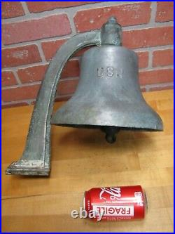 USN UNITED STATES NAVY Old Brass Nickel Bell w Bracket Nautical Ship Boat C-58