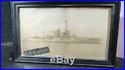 US Navy USN USS Utah Photo with Hat Tally Boston Navy Yard Oct 28 1927