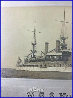 Uss Kearsarge (bb-5) United States Battleship Boat Albumen Photo