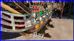 Very Old Model Ship Antique Naval Warship with 22 cannons