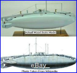 Vickers Holland 1 British Submarine Desktop Mahogany Kiln Wood Model Regular