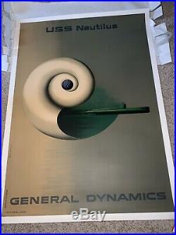 Vintage Original 1955 Erik NITSCHE General Dynamics, USS Nautilus Poster RARE