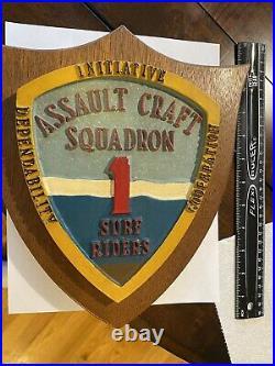 Vintage Plaque Assault Craft Squadron 1 Surf Riders Initiative Cooperation