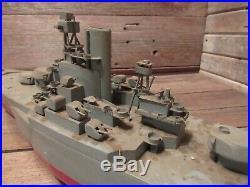Vintage RARE Wood Folk Art U S Military Battleship Desk Model Figure USMC Navy