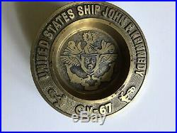 Vintage USS John F. Kennedy CV-67 Aircraft Carrier Navy Heavy 2lbs Brass Ashtray