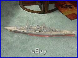 Vintage WW2 German Navy BattleShip Scharnhorst Model 46 Long 1940swithAirplane