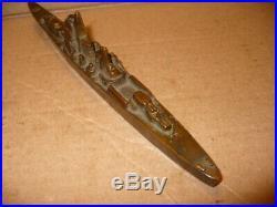 Vintage WW II Brass Destroyer or Battleship Desk Model Paperweight Trench Art