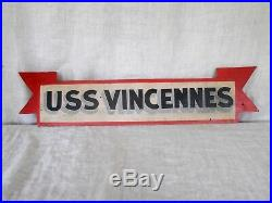 Vintage wooden sign USS Vincennes hand painted Navy Military