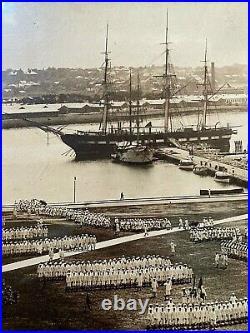 WW1 ERA US NAVAL TRAINING STATION NEWPORT RI with USS CONSTELLATION PHOTO 1914