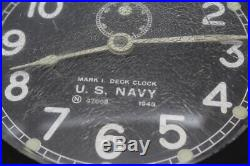 WWII 1943 US NAVY MARK 1 DECK CLOCK Serial 47608 with KeyPLEASE READ (NLC000362)