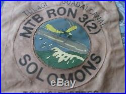 Wwii Usn Pt Boat Motor Torpedo Boat Sqdn 3(2) Solomons Ready Room Wall Flag