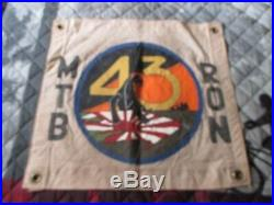 Wwii Usn Pt Boat Motor Torpedo Boat Sqdn 43 Blk Panther Ready Room Wall Flag
